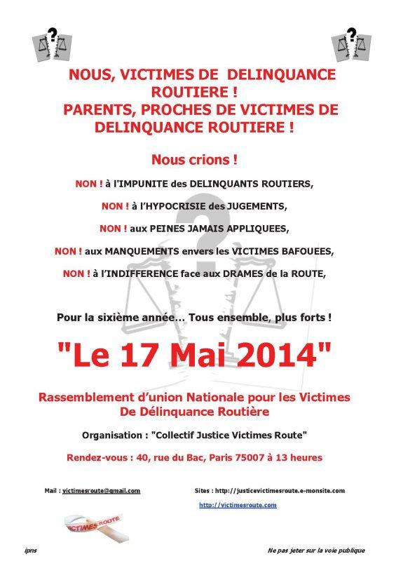 Rassemblement National Des Victimes De Délinquance Routière 17 Mai 2014 PARIS (07)_RUE DU BAC_13 HEURES