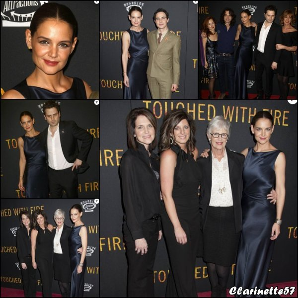 "Katie � la premi�re de son nouveau film ""Touched with Fire"" (anciennement Mania Days) en pr�sence de sa m�re Kathleen et de ses soeurs Tamera et Holly Ann - le 10 F�vrier - � New York"