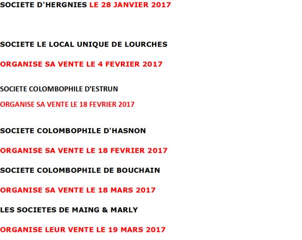 LES VENTES DE PIGEONNEAUX POUR L'ANNEE 2017
