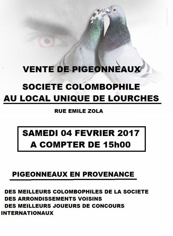 VENTE DE PIGEONNEAUX DU LOCAL UNIQUE DE LOURCHES