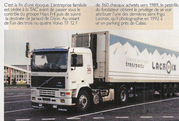 transport lacroix avec le dernier des vehicules volvo f12. Black Bedroom Furniture Sets. Home Design Ideas