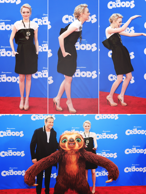 10/03/2013 : Emma  et co-stars �taient pr�sents � l'avant premi�re de The Croods dans la ville de New York