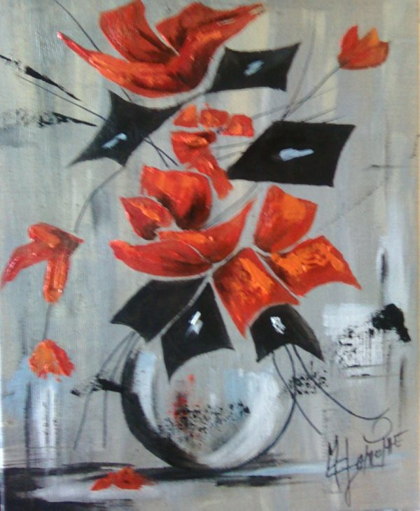 """Coquelicots peinture mixte 30X40 : Intitul� """"Bouquet de coquelicots"""" -50�"""