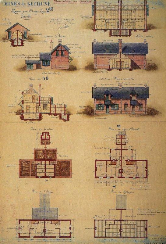 Corons miniers plan d 39 habitation d 39 une maison type 2 rc for Plan maison d habitation
