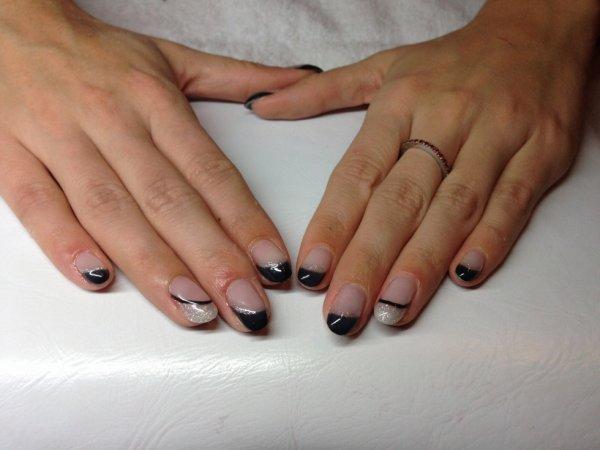 french manucure noir argent josephine nails. Black Bedroom Furniture Sets. Home Design Ideas