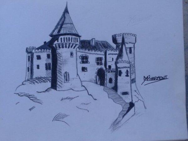 Mon dernier dessin un ch teau du moyen age ma passion le dessin - Dessins moyen age ...