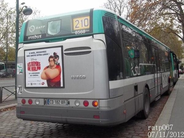Habillage ligne 210 bus irisbus iveco citelis 12 stif ratp - Ligne 118 bus ...