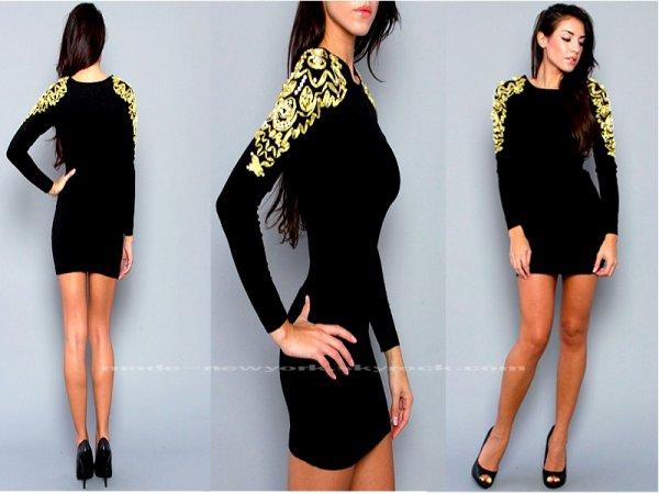 the lena dress in black and gold mode newyork. Black Bedroom Furniture Sets. Home Design Ideas