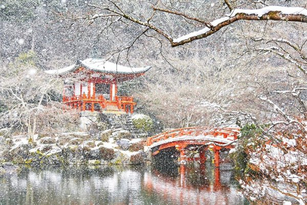 Japon la beaut de kyoto sous la neige maty for Jardin japonais fond d ecran