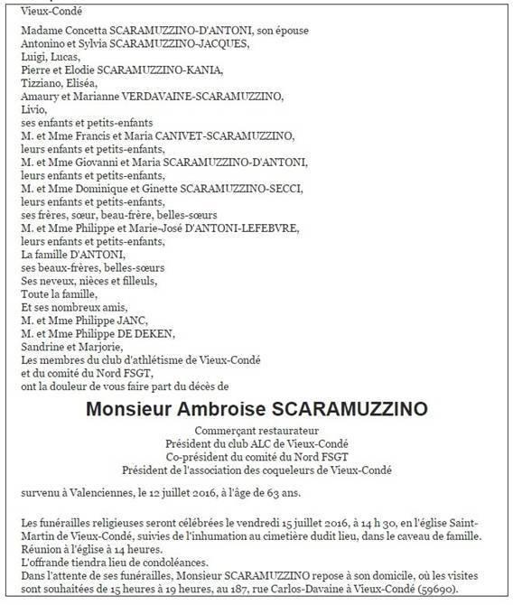 Décès d'Ambroise Scaramuzzino