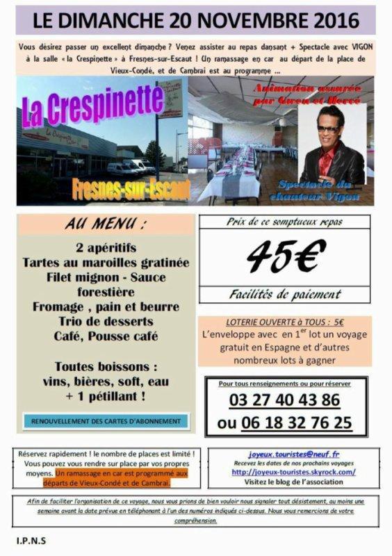 VIGON en Concert à Fresnes sur Escaut , au grands Salon de la Crépinette rue Jean- Jaurés  a partir de 12 heures .