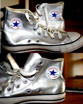converse argent cuir