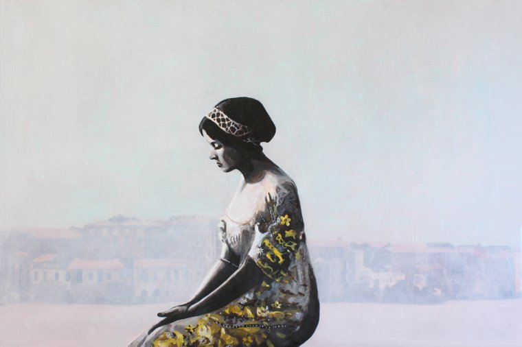 """""""A quoi pense-t-elle?"""", acrylique sur toile, 2 panneaux de 80x120cm."""