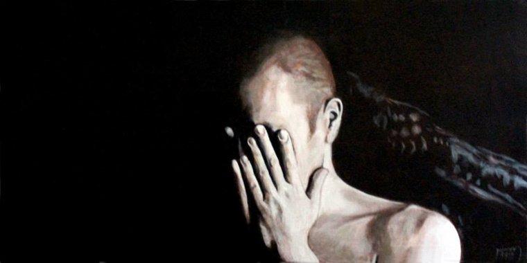 """""""Dans mon souvenir"""", acrylique sur toile, 50x100cm."""