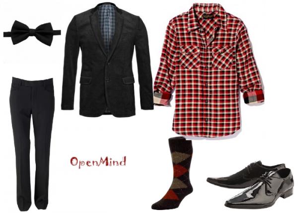 tenue 024 commande 008 homme soir e chemise carreaux noir rouge open mind. Black Bedroom Furniture Sets. Home Design Ideas