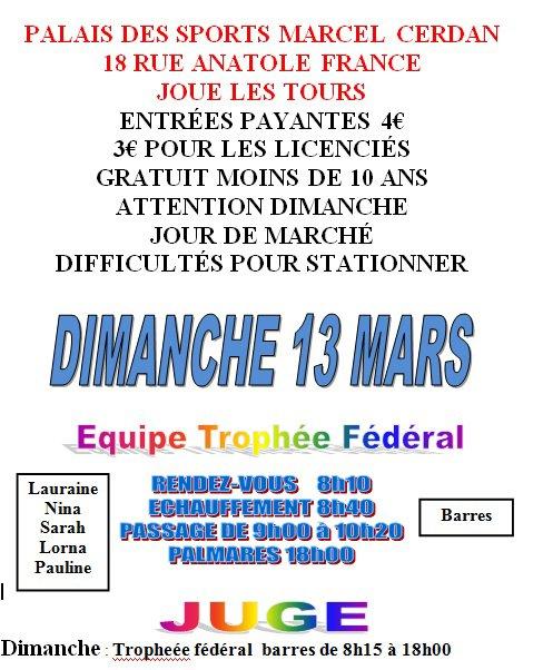 CHAMPIONNAT EQUIPES JOUE LES TOURS 13 mars