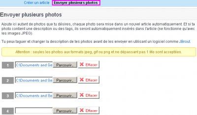 BLOG : Publier une ou plusieurs photos