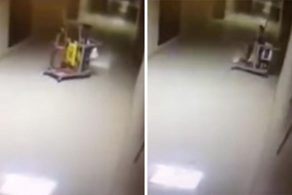 Un fant�me invisible film� dans les couloirs d'une �cole