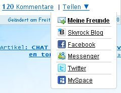BLOG: Verteile deine Artikel auf Skyrock, Facebook, MySpace, Twitter und Messenger !