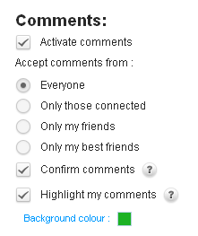 Close-up: Decide who can leave you comments