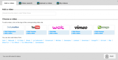 The 'External video' page