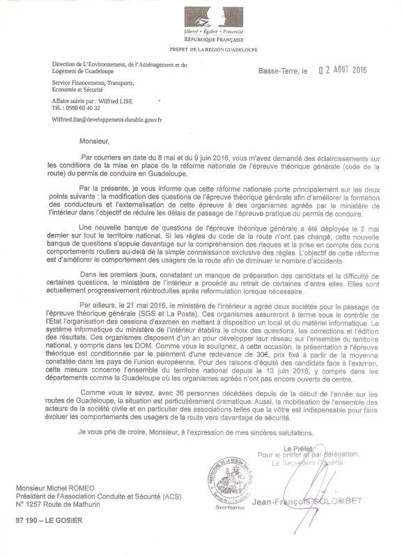INFORMATION DOSSIER EXAMEN CODE ANTILLES-GUYANE