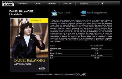 NOUVEAU LIVRE : DANIEL BALAVOINE L'INOUBLIABLE des le 16 Janvier 2012