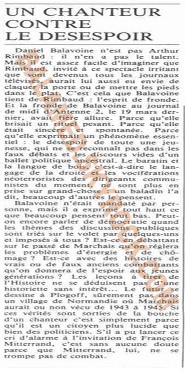 UN CHANTEUR CONTRE LE DÉSESPOIR (Partie 1/2)