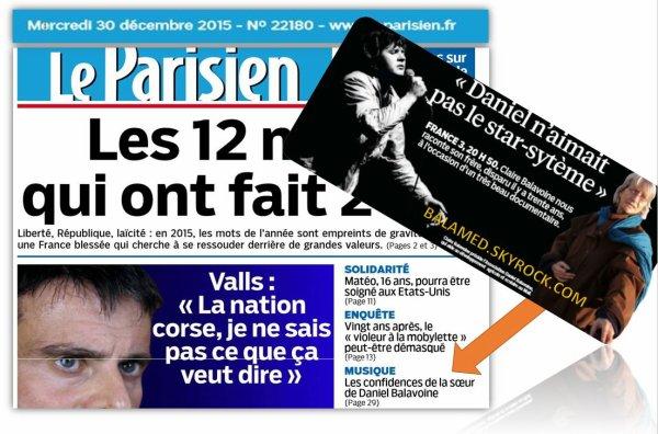 Les confidences de la s�ur de Daniel Balavoine dans Le Parisien du Mercredi 30 d�cembre 2015