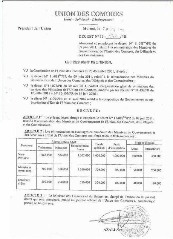 la r�mun�ration des Membres du gouvernement de l'Union des Comores,