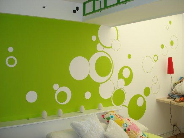 Chambre gris et vert pomme design de maison for Peinture vert pomme