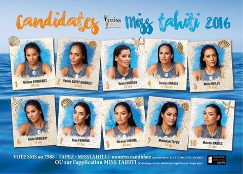 Candidates Miss Tahiti 2016