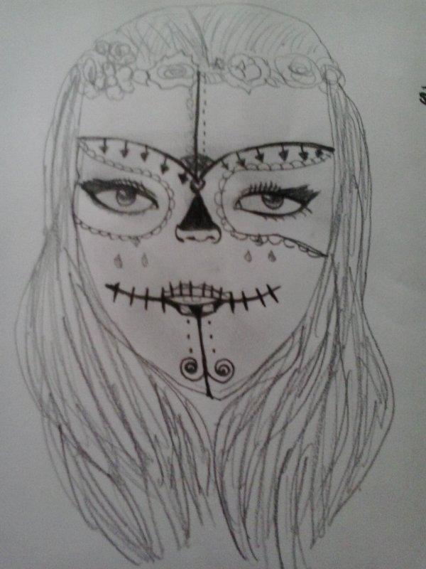 Tete de mort mexicaine femme ma passion ma vie - Tete de mort facile a dessiner ...