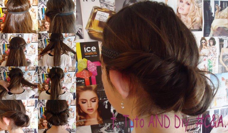 tuto cheveux 3 coiffure facile avec un headband tuto and diy c a. Black Bedroom Furniture Sets. Home Design Ideas