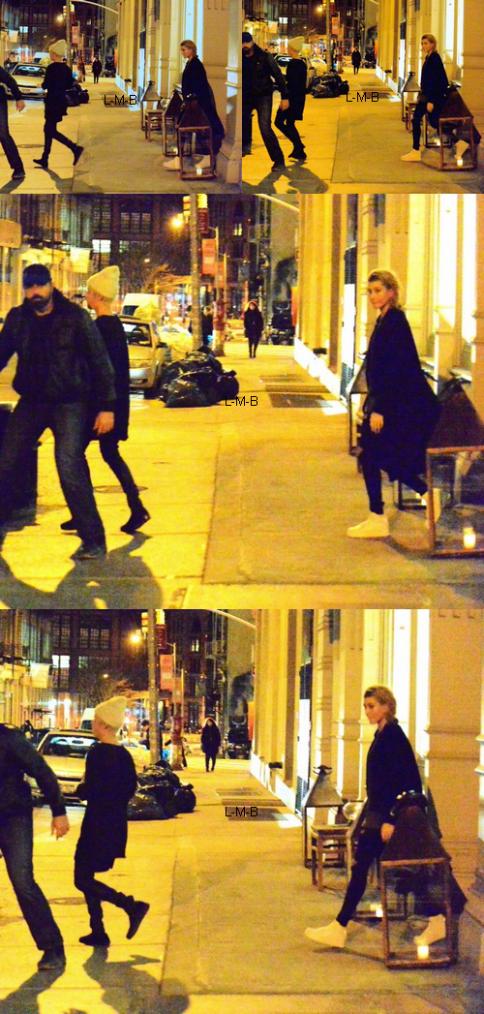 Justin sortant d'un restaurant à New York