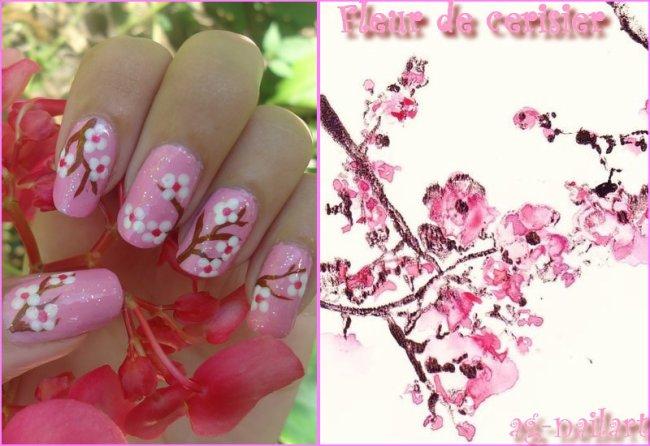Nail art printemps fleur de cerisier mon univers nail art sur ongles naturels - Nail art printemps ...