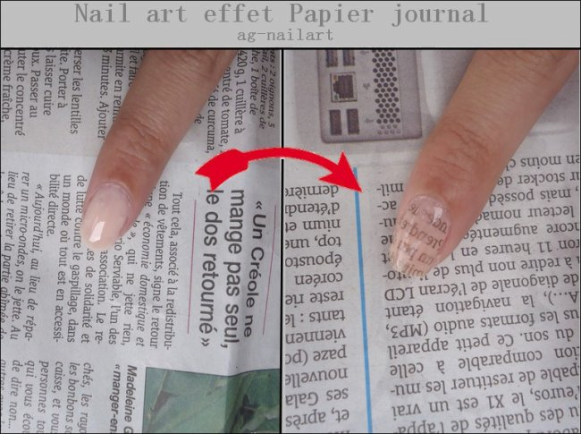 Nail art effet Papier journal  Mon univers nail art sur