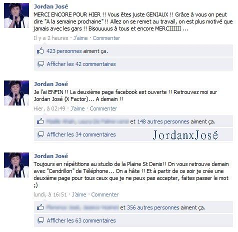 Messages de Jordan sur son Facebook - Jordan José & 2nde Nature