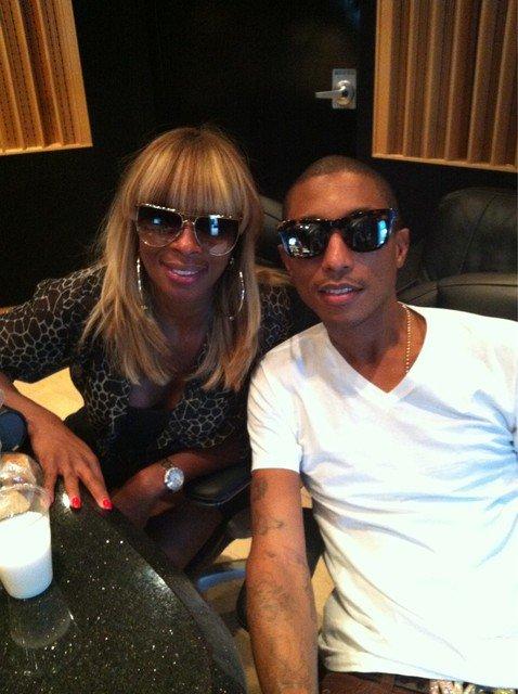 Pharrell en studio avec Mary J Blige - 6 août 2011