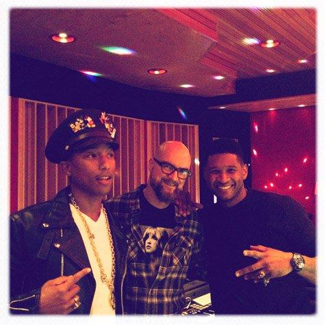 Pharrell en studio avec Jim Jonsin & Usher - Novembre 2011
