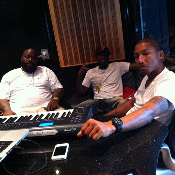 Pharrell en studio avec Rick Ross - 23 novembre 2011