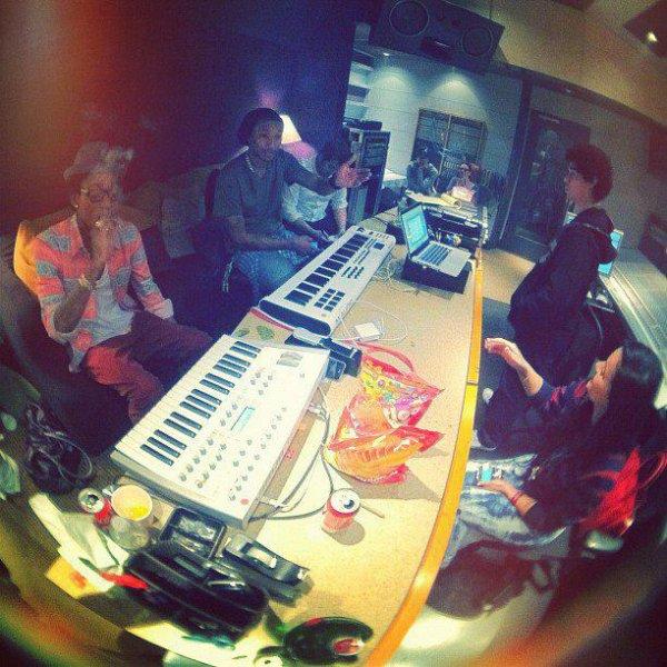 Pharrell en studio avec Wiz Khalifa - 25 janvier 2012