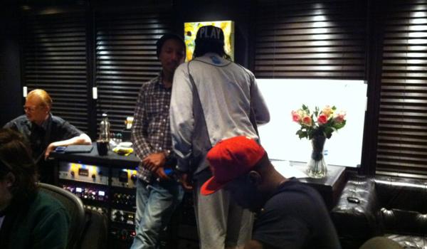 Pharrell en studio avec Pusha-T - février 2012