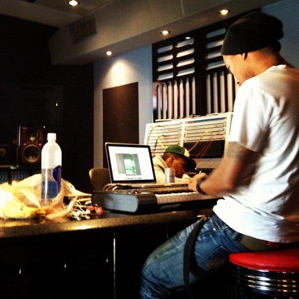 Pharrell en studio avec Curren$y - 3 avril 2012