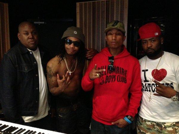 Pharrell en studio avec Cash Out - Circle House Studio, Miami - 13 janvier 2013