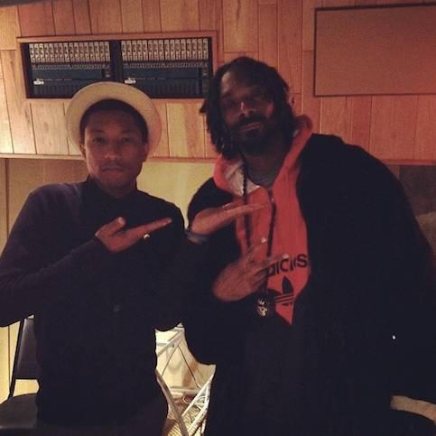 Pharrell en studio avec ... - Los Angeles - 7 février 2013
