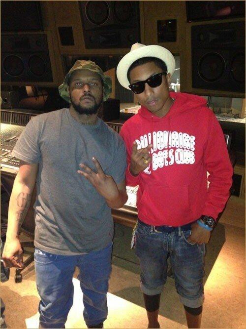 Pharrell en studio avec ... - Los Angeles - 15 février 2013