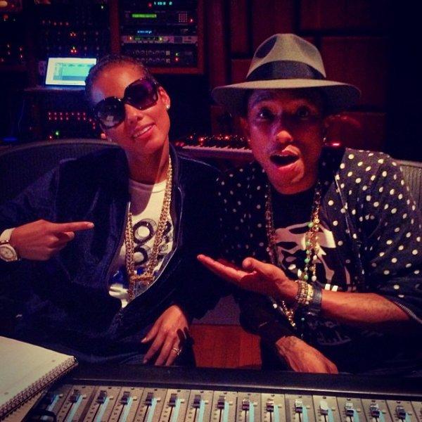 Pharrell en studio avec ... - LA - Janvier 2014