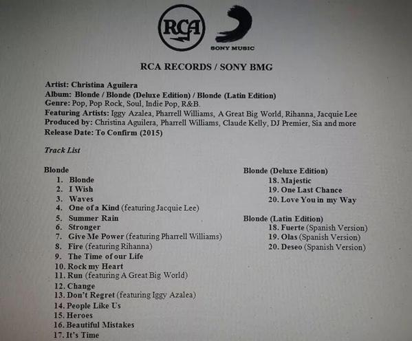 RUMEUR : la tracklist du prochain album de Christina Aguilera dévoilée?