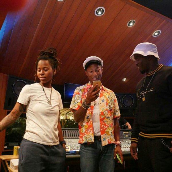 Pharrell en studio avec... - Août 2015